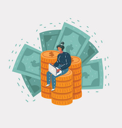 business man sits on a big mountain gold coins vector image