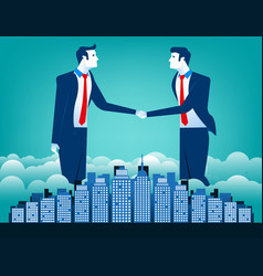 business team shaking hands with city background vector image