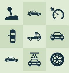 car icons set with car sedan sports automobile vector image