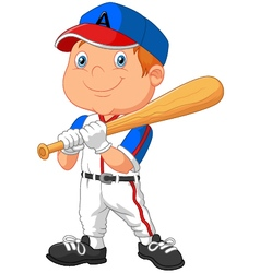 Cartoon kid holding the playing baseball vector