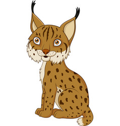 Cartoon lynx sitting vector