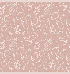 cartoon summer fruits seamless pattern vector image