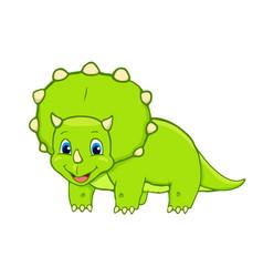 Cartoon triceratops cute little baby dinosaur vector