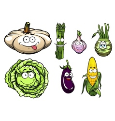 Cartooned squash asparagus garlic kohlrabi cabbage vector