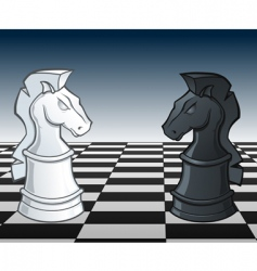 chess knights faceoff illustration vector image