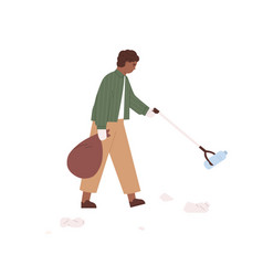 Child picking up plastic garbage with litter stick vector