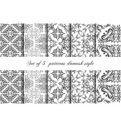 collection 5 seamless pattern vintage style vector image