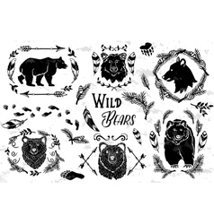 Collection of rustic decorative bears vector