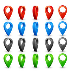 Color 3d map pins place location and destination vector