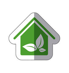 Color house with leaves inside icon vector