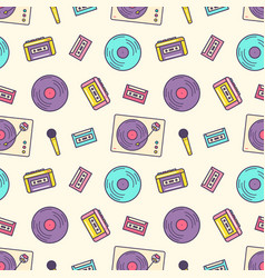 Creative seamless pattern with retro analog music vector