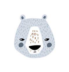 Cute bear face childish print for t-shirt apparel vector