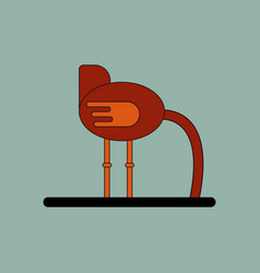 Cute ostrich in flat style isolated on background vector
