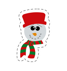 cute snowman christmas cut line vector image