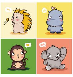 Cute wild animal characters vector