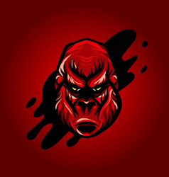 dangerous angry king kong head design vector image