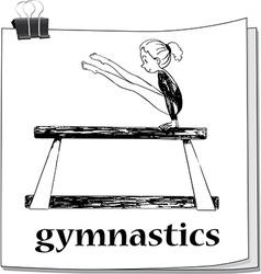 Doodle of girl doing gymnastics vector image