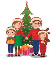 Family at Christmas tree with gifts vector