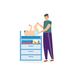 Father character changing baby diaper flat vector