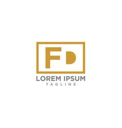 fd negative space logo vector image