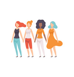girls different nationalities holding hands vector image