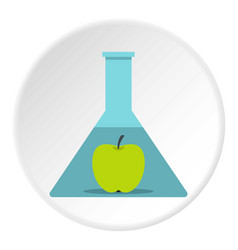 Green apple in glass test flask icon circle vector