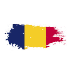 grunge brush stroke with chad national flag vector image