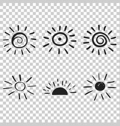 hand drawn sun icon sun sketch doodle handdrawn vector image
