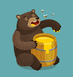 Happy bear eats out of keg of sweet honey cartoon vector