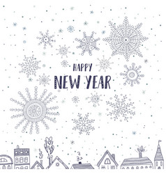 happy new year card with houses in city vector image vector image