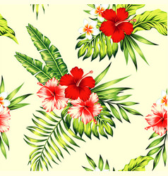 hibiscus and palm leaves tropical seamless vector image