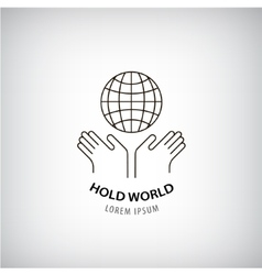 Holding world logo eco protection of the vector