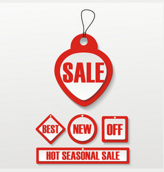 Hot deal red 3d realistic paper sale tags vector