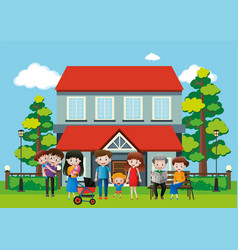 house with many people in the family vector image