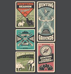 hunting season hunter ammo and animals trophy vector image