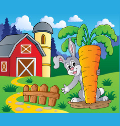 image with rabbit theme 2 vector image
