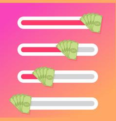 Interface slider button with fan money cash bill vector