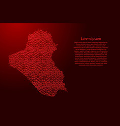 iraq map abstract schematic from red ones and vector image