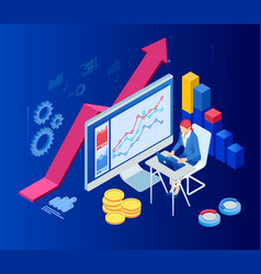 Isometric web business concept financial vector