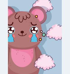 kawaii cartoon cute little bear crying vector image