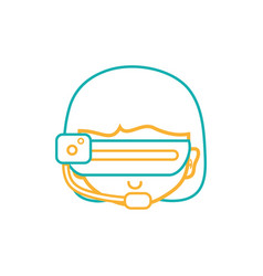 Line girl head with 3d glasses to virtual video vector