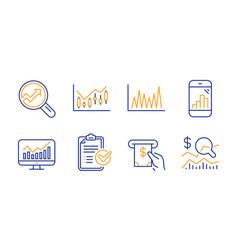 Line graph financial diagram and survey checklist vector