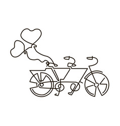 line icon tandem bike wedding vector image