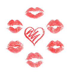 Lips prints on white background vector