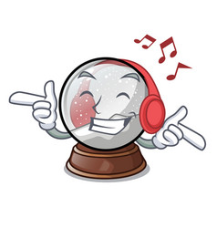 Listening music ball snow and christmas cartoon vector