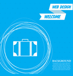 luggage icon on a blue background with abstract vector image