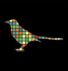 Magpie bird mosaic color silhouette animal vector