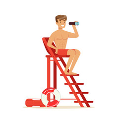 male lifeguard sitting on lookout tower and vector image