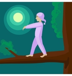 Man sleepwalker on tree cartoon vector
