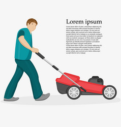 Man with mower vector
